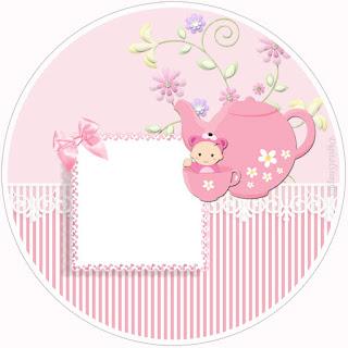 Toppers o Etiquetas de Bebé Niña en Rosa para imprimir gratis.