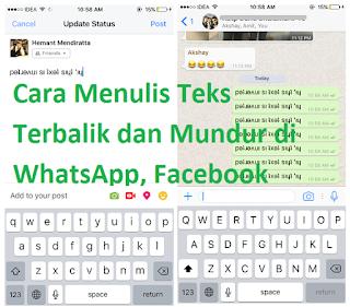 Cara Menulis Teks Terbalik dan Mundur di WhatsApp, Facebook