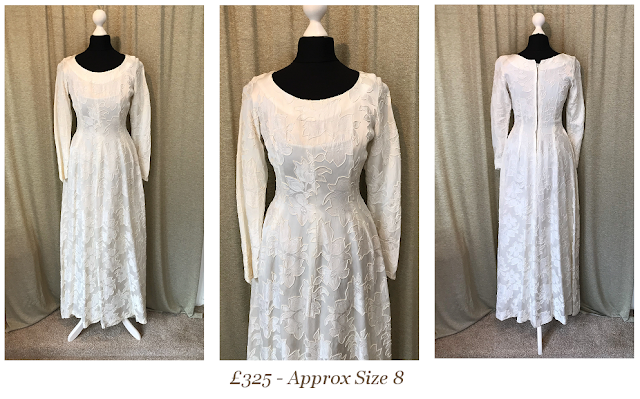 1950s brocade long sleeve vintage wedding dress available from vintage lane bridal boutique bolton manchester