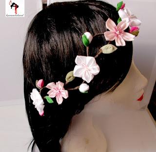 kanzashi, tiara flores kanzashi sakura, kanzashiland