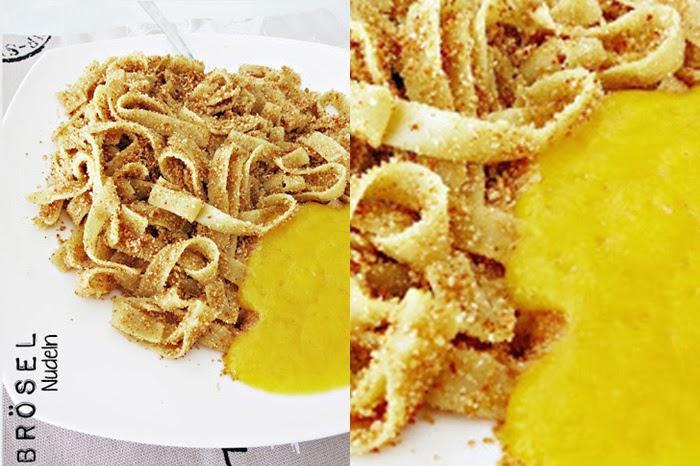 Bröselnudeln mit Pfirsichmus