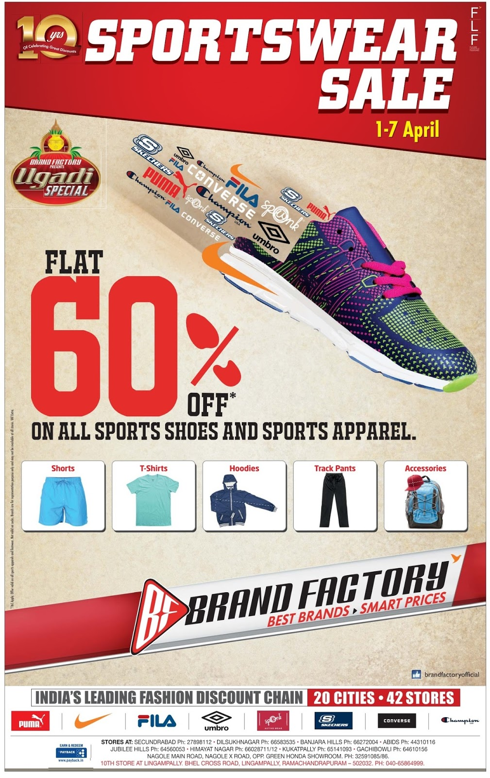 Flat 60% off on Sports wear in Brand factory | April 2016 discount offer