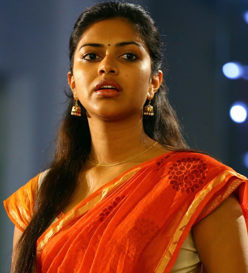 Kollywood Actress Amala Paul Navel Hip Show Photos In Orange Saree