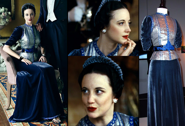 Fabulous Film Fashions W.E.  - Wallis - Blue Velvet & Gold Lame Gown - Schiaparelli Inspired