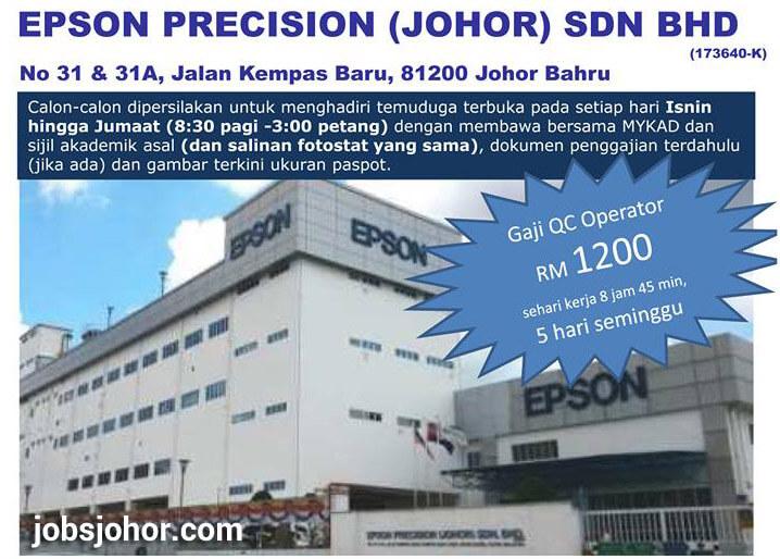 Temuduga Terbuka EPSON PRECISION (JOHOR)