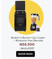 Bruhm 4 Burner Gas Cooker + A Free Binatone Blender