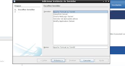 Instalando instância  do servidor no netbeans