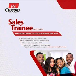 PZ Cussons Sales Trainee Program 2018 for Nigerian Graduates