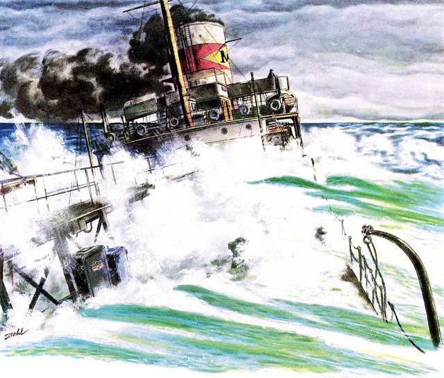 a Ben Stahl illustration of a modern ship in distress, 1940