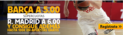 betfair Barcelona cuota 5 Real Madrid cuota 6 Euroleague mas 100 euros 2 abril