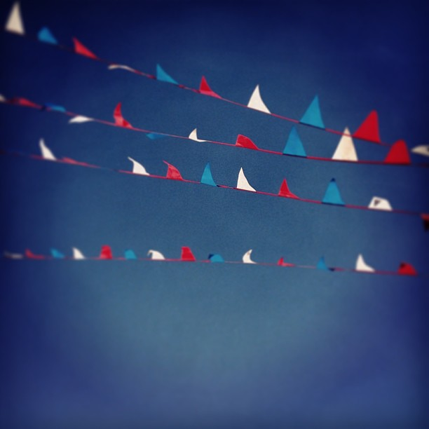 red white and blue flags