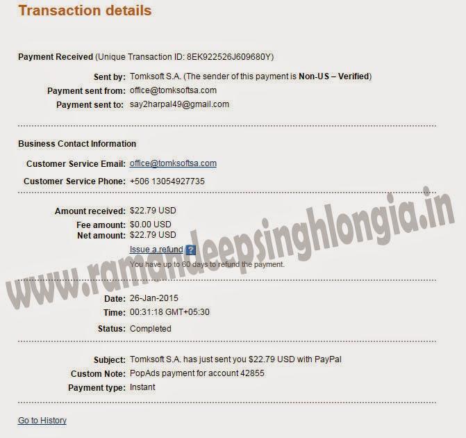 Popads.net payment proof 2015