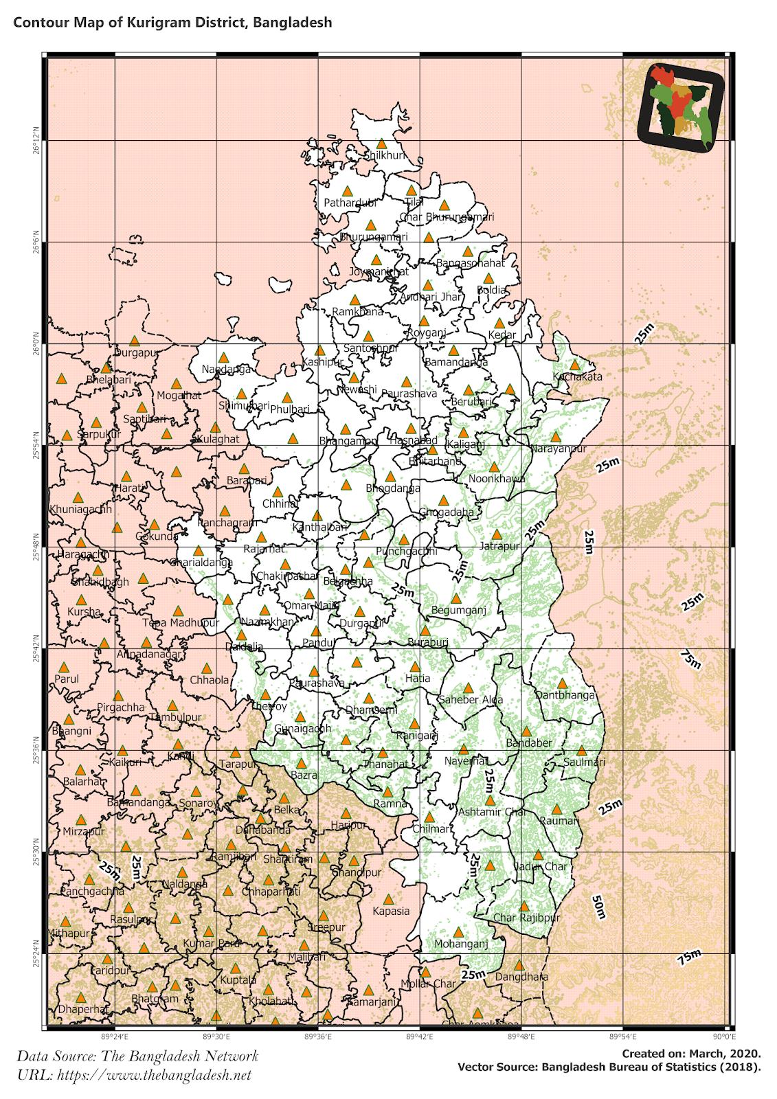 Elevation Map of Kurigram District of Bangladesh