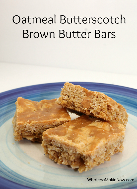 Oatmeal Butterscotch Brown Butter Bars - they taste like no-bake cookies!