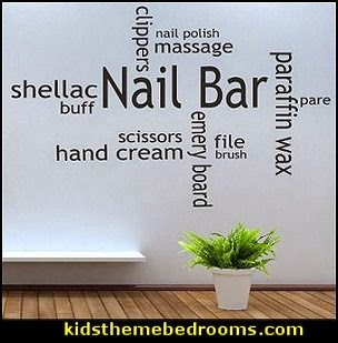 Nail Bar Collage Salon varnish polish decal Quote lettering