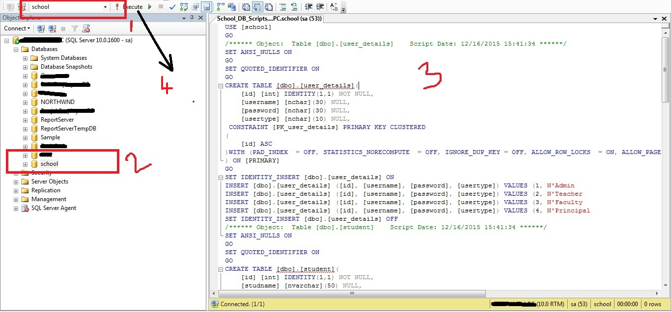 Dotnet school management system project with source code for Table design of library management system