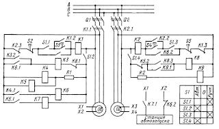 Принципиальная схема автоматической совместной работы валогенератора и дизель-генератора