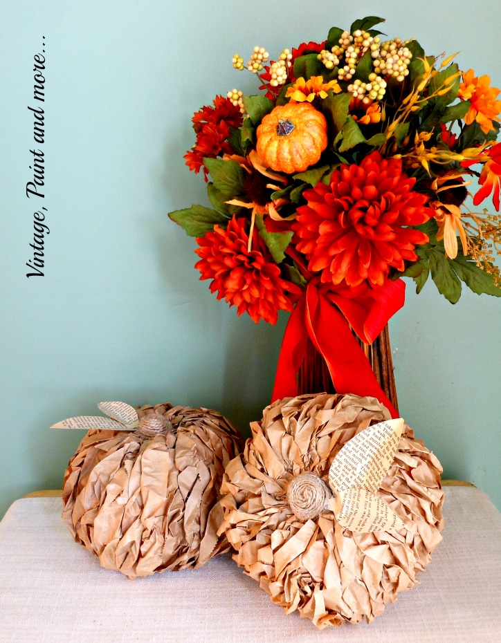 Vintage, Paint and more... dollar tree pumpkins recycled with brown paper lunch bags, book pages and twine