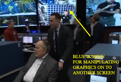 NASA having a blue screen viewed in public or having a blooper day.