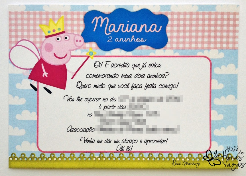 convite artesanal aniversário infantil peppa pig reino das fadas menina colorido