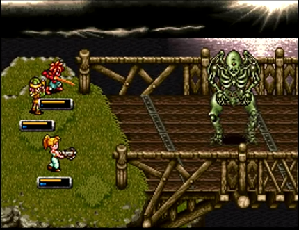 The party takes on Zombor, a massive skeletal boss monster on the Zenan Bridge in Chrono Trigger