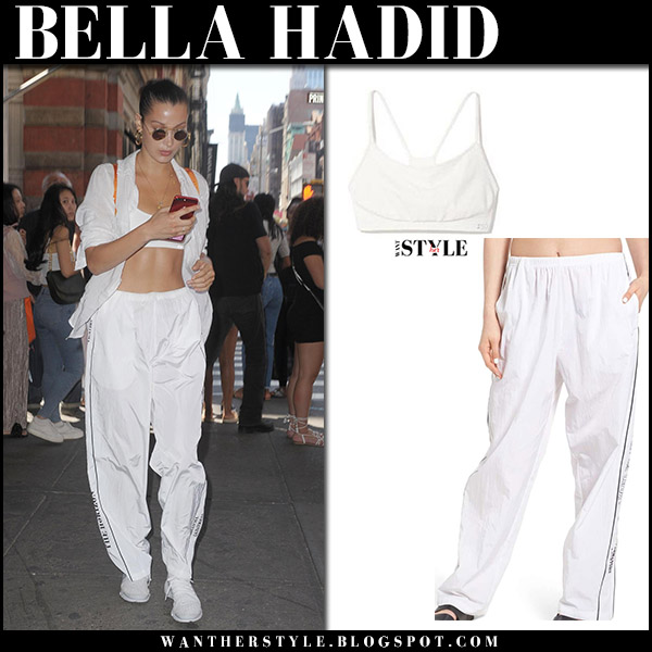 Bella Hadid in white sports bra and white track pants hyein seo august 24 2017