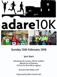 Popular 10k race in West Limerick...Sun 25th Feb 2018 - CLOSED!!