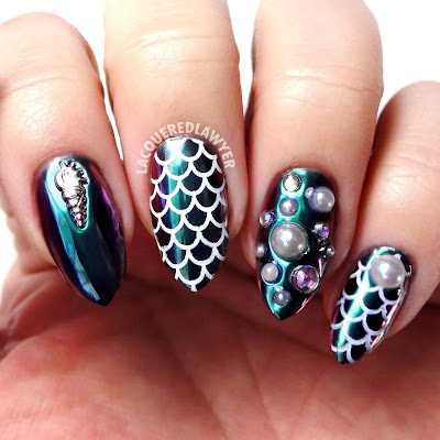 Multi-chromatic Mermaid Nails