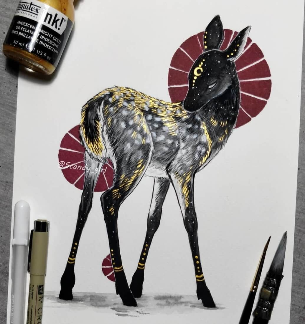14-Little-Fawn-Jonna-Hyttinen-Animals-Mixture-of-Drawings-and-Paintings-www-designstack-co
