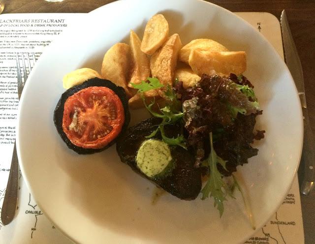 steak, garlic butter, chips, mushroom at blackfriars