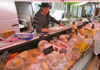 French Cheese Vendor Sunday Open Market Chablis France