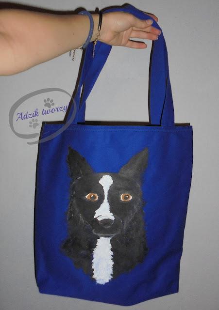 materiałowa torebka ręcznie malowana pies