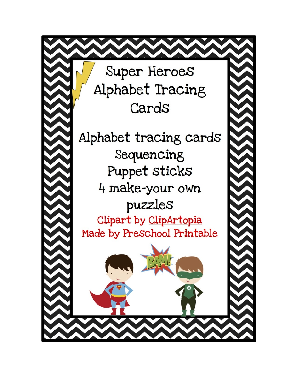 Super Hero Alphabet Tracing Cards Preschool Printables