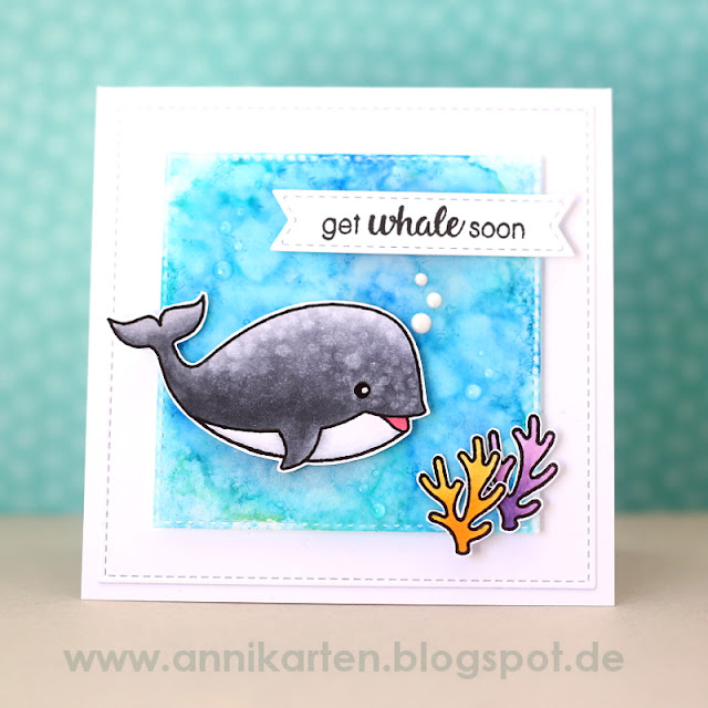 Sunny Studio Stamps: Oceans of Joy & Magical Mermaids Get Whale Soon Card by Anni Lerche