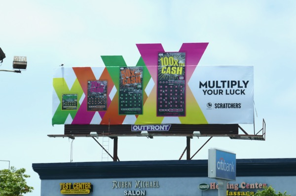 Lottery Scratchers Multiply your luck billboard