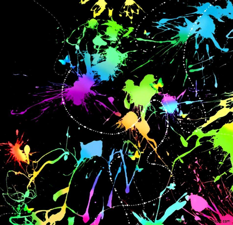 Glowing Neon Paint Splatter Backgrounds