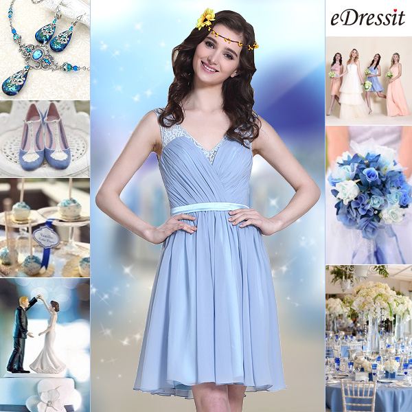 Sleeveless Blue Cocktail Dress Bridesmaid Dress