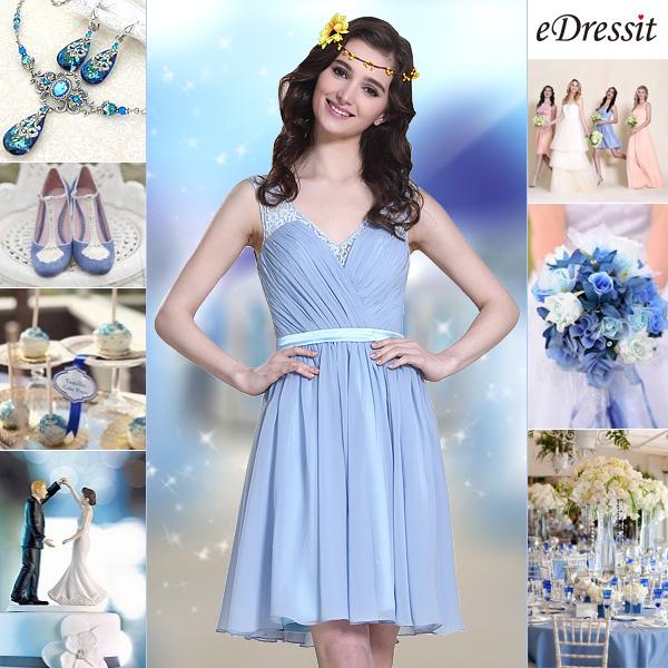 Sleeveless Blue Cocktail Dress Bridesmaid Dress