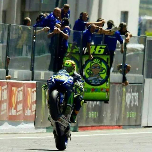Celebrating with Valentino Rossi on Wheelie Wednesday