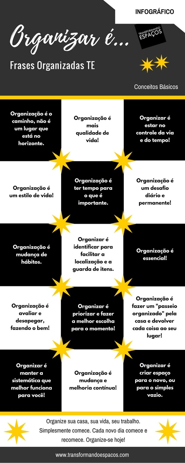 Infográfico: Frases Organizadas TE #Organizaré...