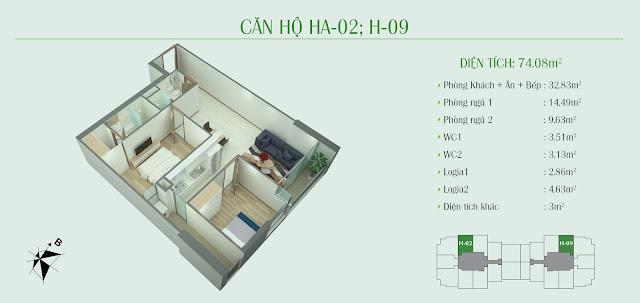 Thiết kế căn hộ HA - 02 -09: Diện tích 74,08m2