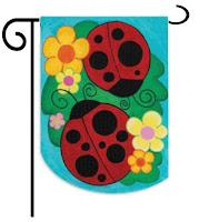 ladybug spring garden flag