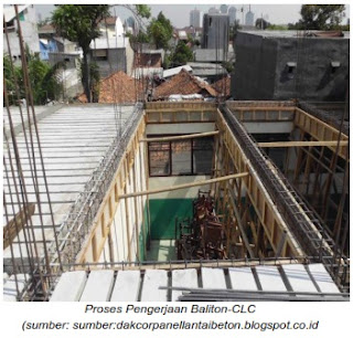 Proses Pengerjaan pelat lantai Baliton CLC