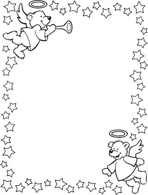 Borde De Ositos ángeles Navideños Para Colorear E Imprimir Dibujos