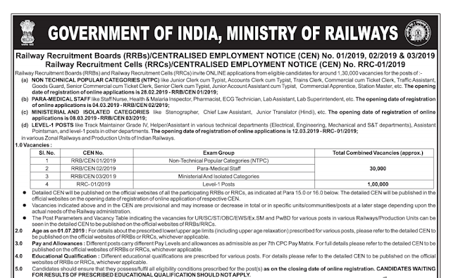 RRB Railway Short Notice for Recruitment for 1.3 lakhs vacancy ( NTPC, Para Medical, Ministerial, level 1)