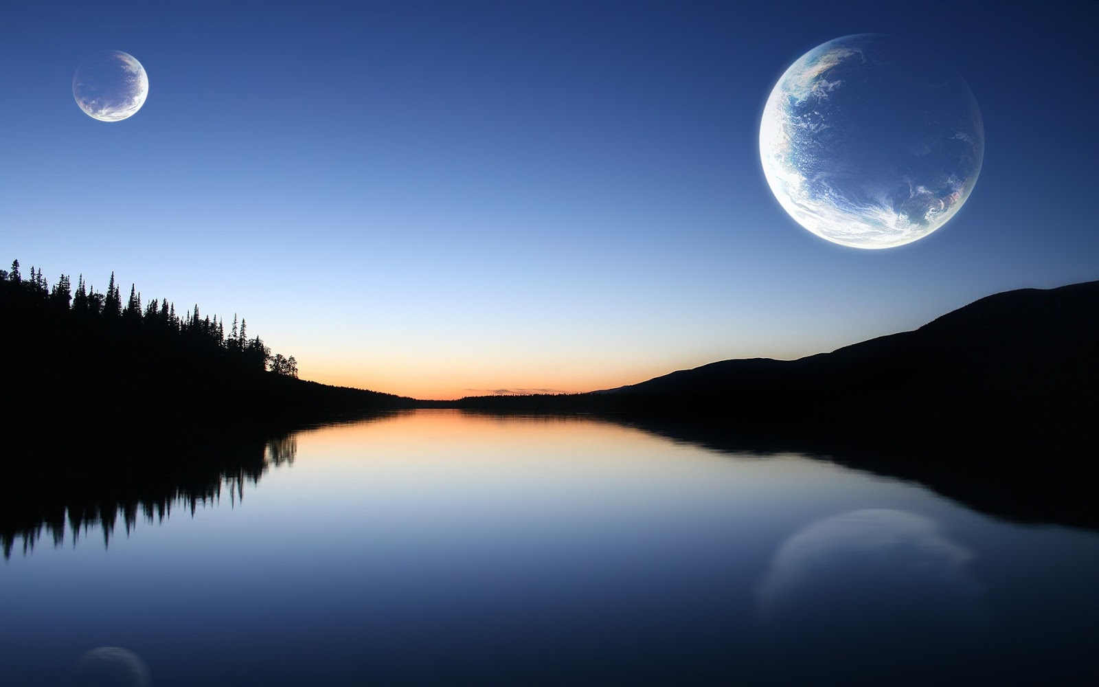 Beautiful Wallpapers: Moon Sunset Mountains Lake Natural ...