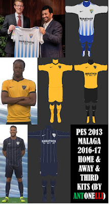 PES 2013 Malaga CF 2016-17 Home & Away & Third Kits (BY ANTONELLI & VULCANZERO)