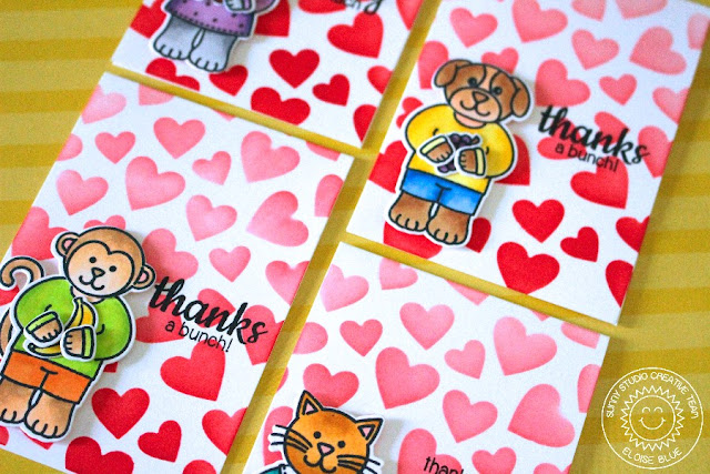 Sunny Studio Stamps: Comfy Creatures Heart Themed Mini Thank You Card Set by Eloise.