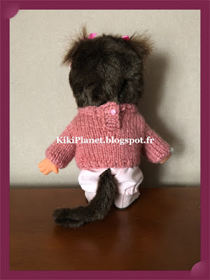 "Pull rose ""fleurs"" fait main  pour Kiki ou Monchhichi, handmade, vêtement, tricot, knitting"
