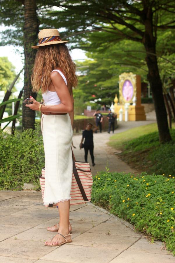 Falda pareo, falda midi, look diario